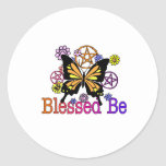 blessed flowers round stickers