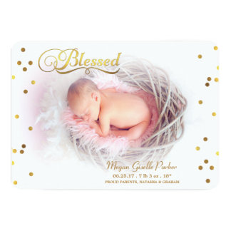 Blessed Gold Confetti Photo Birth Announcement
