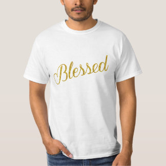 Blessed Gold Faux Glitter Metallic Sequins T-Shirt