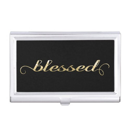 Blessed Gold Foil_Look Inspirational Grateful Business Card Holder
