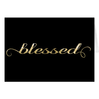 Blessed, Gold Foil-Look Inspirational Grateful Greeting Card