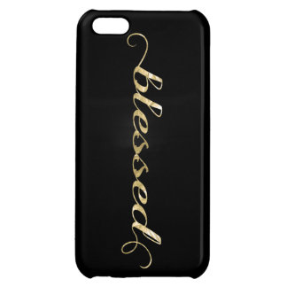 Blessed, Gold Foil-Look Inspirational Grateful Cover For iPhone 5C