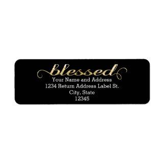 Blessed, Gold Foil-Look Inspirational Grateful Return Address Labels
