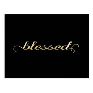Blessed, Gold Foil-Look Inspirational Grateful Post Cards
