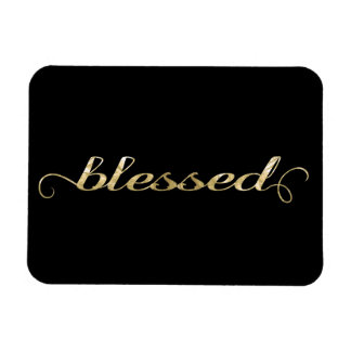Blessed, Gold Foil-Look Inspirational Grateful Rectangular Photo Magnet