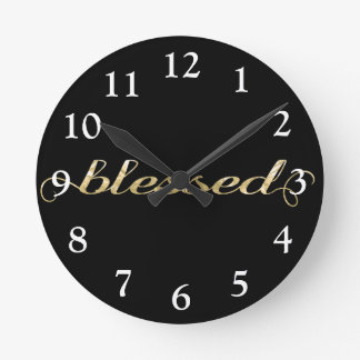 Blessed, Gold Foil-Look Inspirational Grateful Round Clock