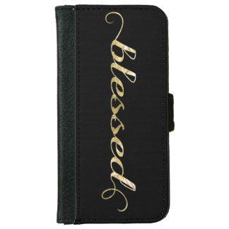 Blessed, Gold Foil-Look Inspirational Grateful Wallet Phone Case For iPhone 6/6s
