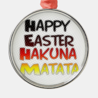 Blessed Happy Easter Hakuna Matata Holiday Season Metal Ornament