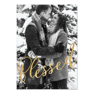 Blessed Happy Holidays Family Photo Christmas Card
