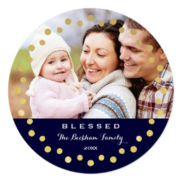 Christmas Themed Blessed Holiday Ornament Photo Card / Navy Gold