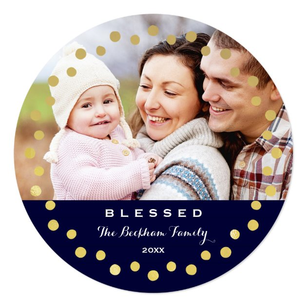 Blessed Holiday Ornament Photo Card / Navy Gold