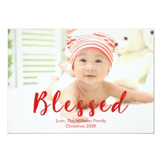 Blessed Holiday Photo Card with Red Cursive Text