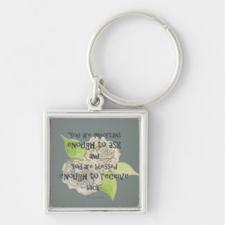 BLESSED & IMPORTANT ENOUGH TO ASK RECEIVE  FLORAL KEYCHAIN