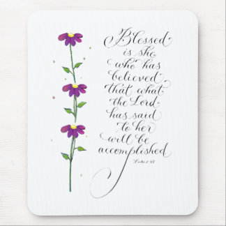 Blessed is she inspirational handwritten verse mouse pad