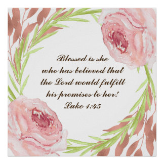 """Blessed is she..."" Poster with Rosie Wreath"