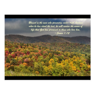Blessed is the man who perseveres under trial, bec postcard