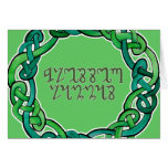 Blessed Lammas; Green Theban Script and Knotwork Card