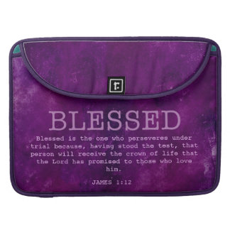 BLESSED Mac Laptop Sleeve Purple Grunge Christian