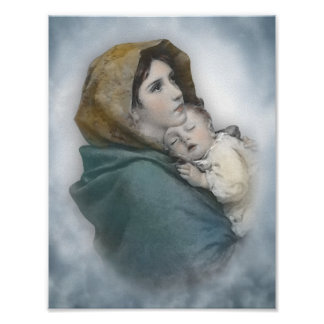 Blessed Mother and Baby Jesus watercolor Poster