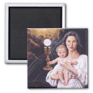 Blessed Mother, Baby Jesus, and Eucharist 2 Inch Square Magnet