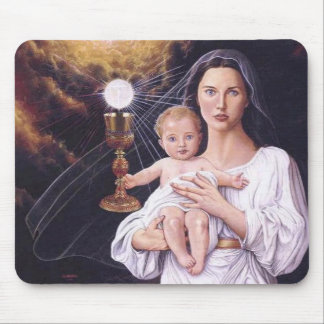 Blessed Mother, Baby Jesus, and Eucharist Mousepad