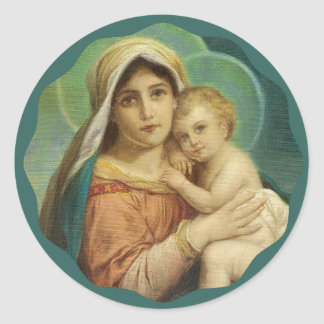 Blessed Mother holding the Baby Jesus Classic Round Sticker