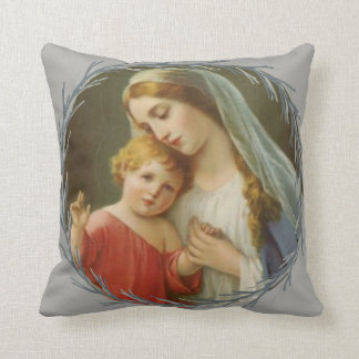 Blessed Mother holding the Baby Jesus Wreath Throw Pillow