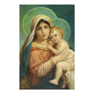 Blessed Mother Mary Baby Jesus Stationery