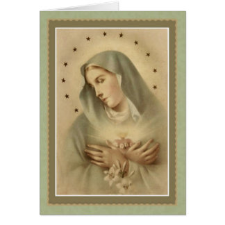 Blessed Mother Mary with lilies in Arms Card