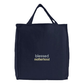 blessed motherhood embroidered tote bag