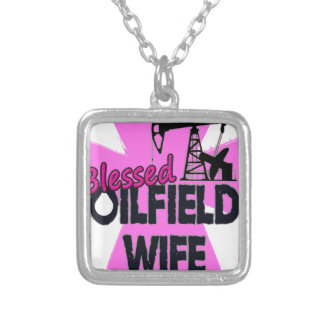 Blessed Oilfield Wife Pink Cross Personalized Necklace