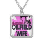 Blessed Oilfield Wife Pink Cross Square Pendant Necklace
