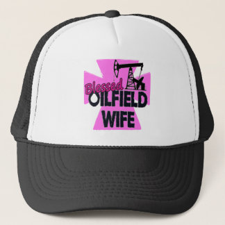 Blessed Oilfield Wife Pink Cross Trucker Hat