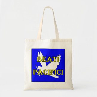blessed peacemakers white dove tote bag