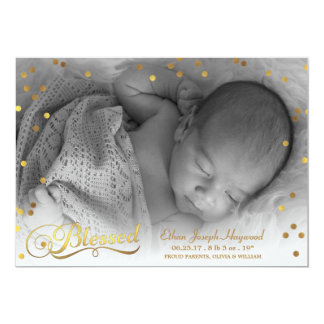 Blessed Photo Gold Confetti Birth Announcement