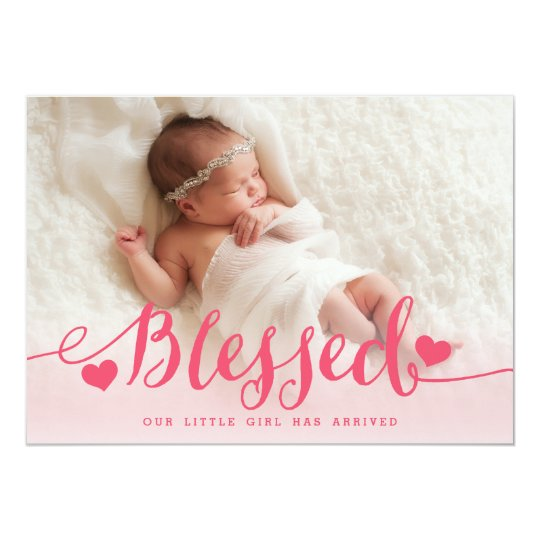 Completely new Blessed | Pink Baby Girl Photo Birth Announcement | Zazzle.com HK52