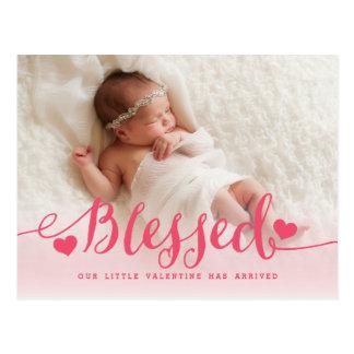 Blessed | Pink Valentine Birth Announcement Postcard