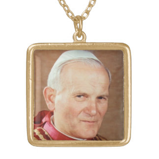 Blessed Pope John Paul II Gold Plated Necklace