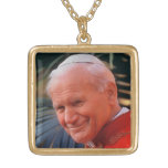 Blessed Pope John Paul II Square Pendant Necklace