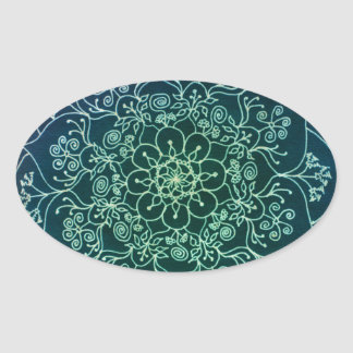 Blessed Rain Mandala Oval Sticker