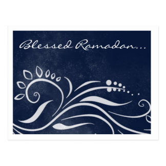 Blessed Ramadan blue ornate islamic greeting Postcard