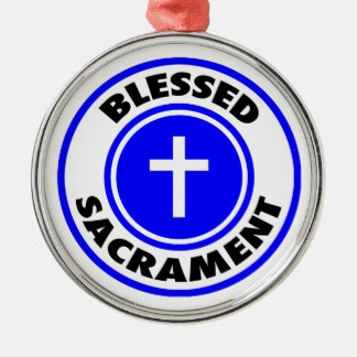 Blessed Sacrament Round Metal Christmas Ornament