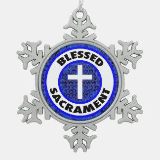 Blessed Sacrament Snowflake Pewter Christmas Ornament