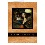 Blessed Samhain - Autumn Leaves Witch Greeting Cards