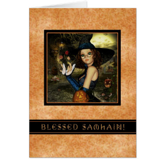 Blessed Samhain - Autumn Leaves Witch Card