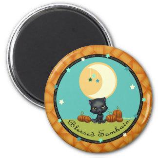 Blessed Samhain Black Cat Moon Round Magnet