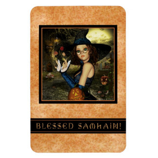 Blessed Samhain Cute Autumn Witch Flexi Magnet