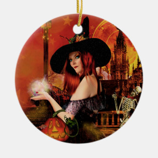 Blessed Samhain Magical Night Witch Ornament
