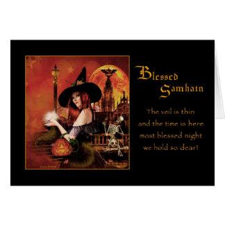 Blessed Samhain - Magickal Night - Blank Card