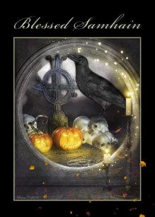 Samhain cards zazzle blessed samhain mystical raven greeting card m4hsunfo